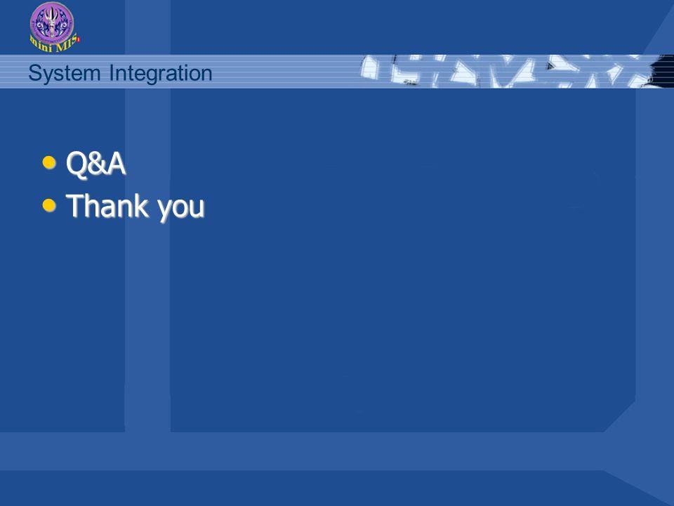 System Integration Q&A Q&A Thank you Thank you