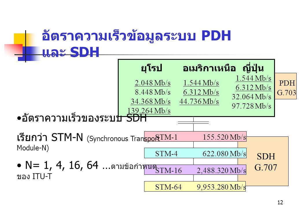 12 อัตราความเร็วข้อมูลระบบ PDH และ SDH ยุโรป 2.048 Mb/s 8.448 Mb/s 34.368 Mb/s 139.264 Mb/s อเมริกาเหนือ 1.544 Mb/s 6.312 Mb/s 44.736 Mb/s ญี่ปุ่น 1.5