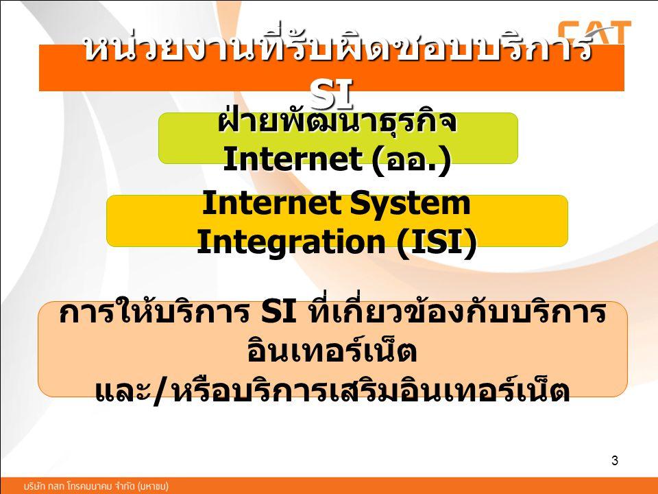 3 หน่วยงานที่รับผิดชอบบริการ SI หน่วยงานที่รับผิดชอบบริการ SI ISI) Internet System Integration (ISI) การให้บริการ SI ที่เกี่ยวข้องกับบริการ อินเทอร์เน