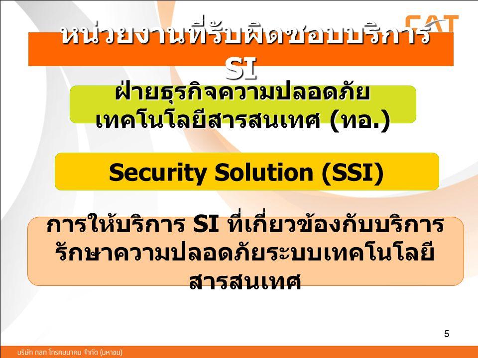 5 หน่วยงานที่รับผิดชอบบริการ SI หน่วยงานที่รับผิดชอบบริการ SI Security Solution (SSI) การให้บริการ SI ที่เกี่ยวข้องกับบริการ รักษาความปลอดภัยระบบเทคโน