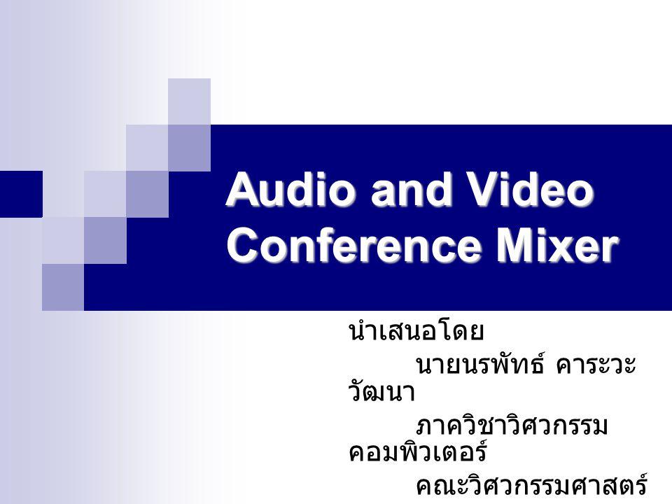 หัวข้อในการนำเสนอ รูปแบบการติดต่อแบบ Conference รูปแบบการติดต่อแบบ Conference รูปแบบการทำงานของ Audio Mixer รูปแบบการทำงานของ Audio Mixer รูปแบบการทำงานของ Video Mixer รูปแบบการทำงานของ Video Mixer ระดับชั้นการประมวลผลข้อมูล ระดับชั้นการประมวลผลข้อมูล ตัวอย่างผลการทดสอบโปรแกรม ตัวอย่างผลการทดสอบโปรแกรม