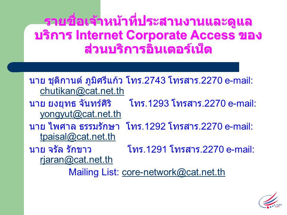 รายชื่อเจ้าหน้าที่ประสานงานและดูแล บริการ Internet Corporate Access ของ ส่วนบริการอินเตอร์เน็ต นาย ชุติกานต์ ภูมิศรีแก้ว โทร.2743 โทรสาร.2270 e-mail: