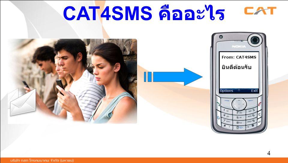 5 ส่งข้อความสั้นผ่านเว็บไซต์ www.cat4sms.com ไปยังโทรศัพท์มือถือของทุกค่ายทั่วไทย และยังสามารถส่งข้อความจากทั่วโลกกลับมายังมือถือทุกค่ายทั่วไทยwww.cat4sms.com