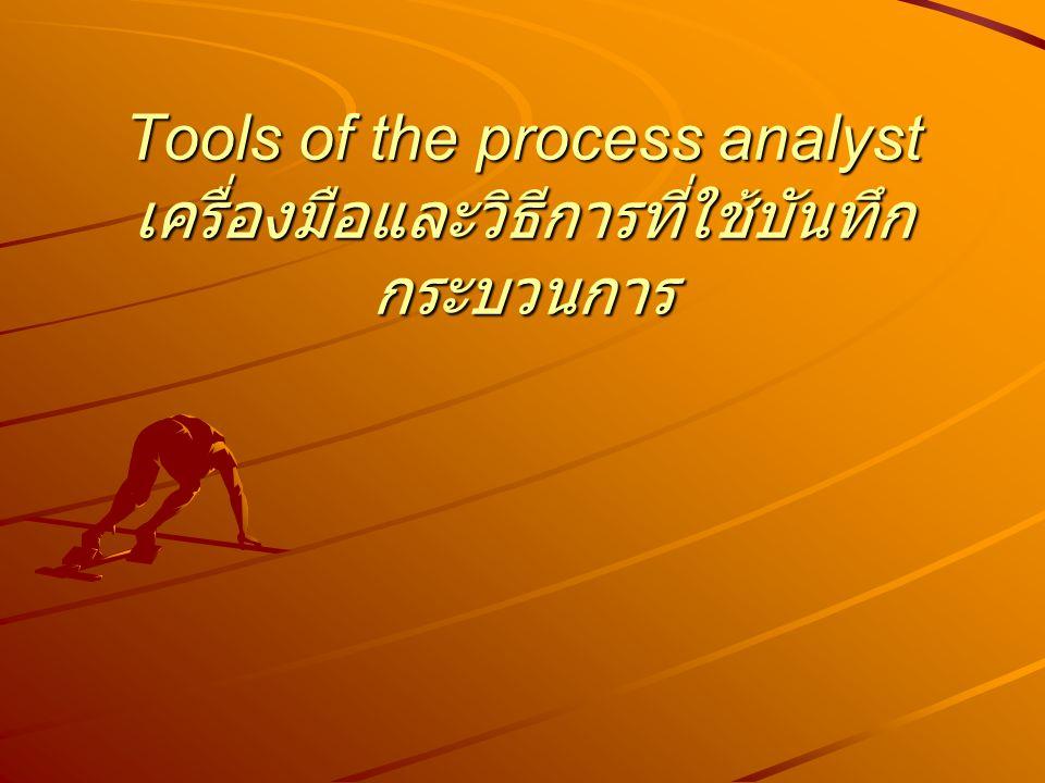 A Process Chart แผนภูมิกระบวนการ One of the most important tools of the methods engineer is the process chart.
