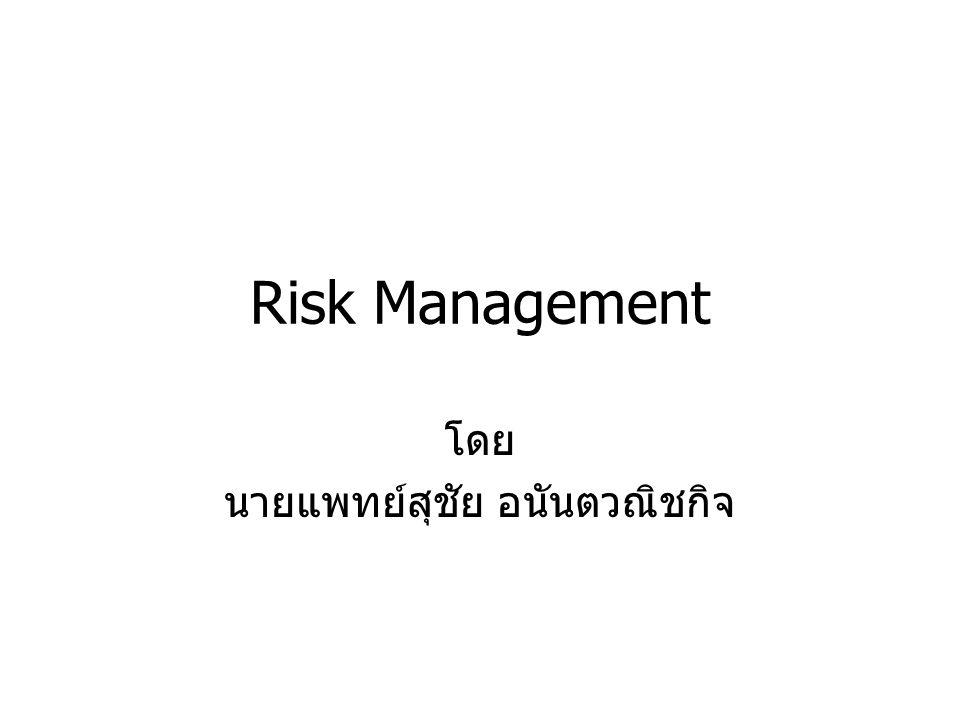 อะไรคือความเสี่ยง โอกาสที่จะประสบกับ –การบาดเจ็บ/เสียหาย (harm) –เหตุร้าย (hazard) –อันตราย (danger) –ความไม่แน่นอน (uncertainty) –ความสูญเสีย (loss) –สิ่งไม่พึงประสงค์ (adverse events)