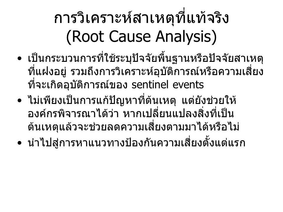 การวิเคราะห์สาเหตุที่แท้จริง (Root Cause Analysis) เป็นกระบวนการที่ใช้ระบุปัจจัยพื้นฐานหรือปัจจัยสาเหตุ ที่แฝงอยู่ รวมถึงการวิเคราะห์อุบัติการณ์หรือคว