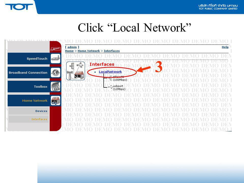 "Click ""Local Network"" 3"