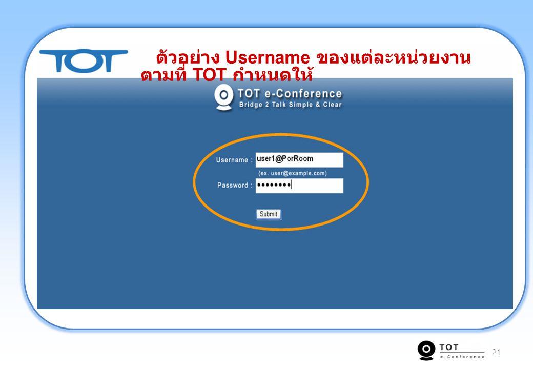 21 ตัวอย่าง Username ของแต่ละหน่วยงาน ตามที่ TOT กำหนดให้