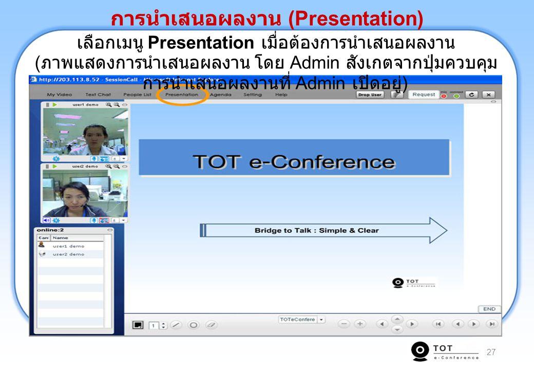 27 เลือกเมนู Presentation เมื่อต้องการนำเสนอผลงาน ( ภาพแสดงการนำเสนอผลงาน โดย Admin สังเกตจากปุ่มควบคุม การนำเสนอผลงานที่ Admin เปิดอยู่ ) การนำเสนอผล