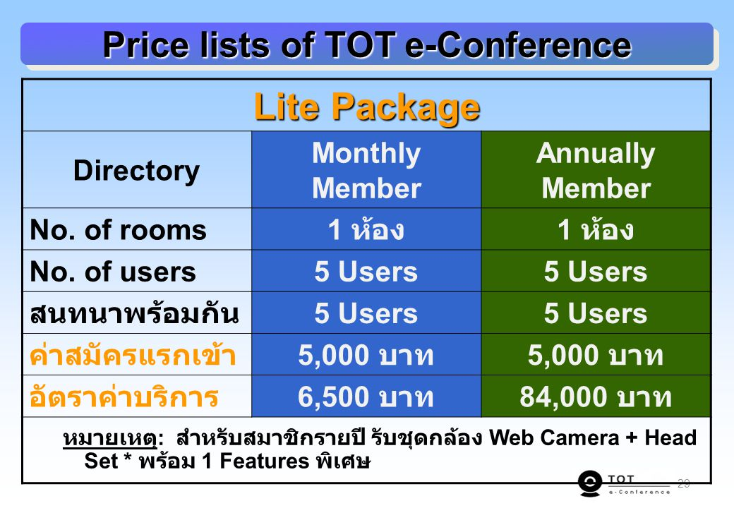 29 Price lists of TOT e-Conference Lite Package Directory Monthly Member Annually Member No. of rooms 1 ห้อง No. of users5 Users สนทนาพร้อมกัน 5 Users