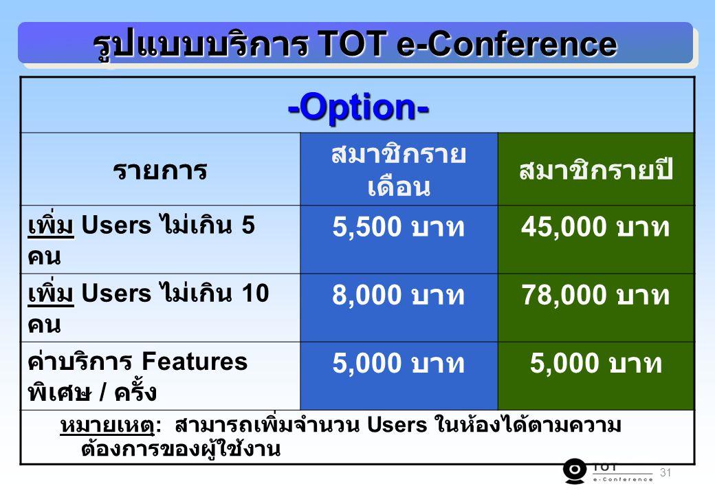 31 รูปแบบบริการ TOT e-Conference -Option- รายการ สมาชิกราย เดือน สมาชิกรายปี เพิ่ม เพิ่ม Users ไม่เกิน 5 คน 5,500 บาท 45,000 บาท เพิ่ม เพิ่ม Users ไม่