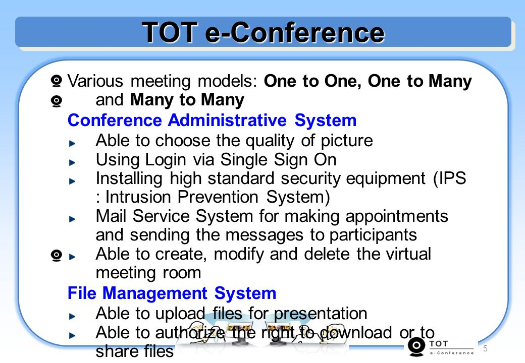 6 Model of Conference One to One (Individual Meeting) One to Many (Official meeting) Many to Many (Group discussion)