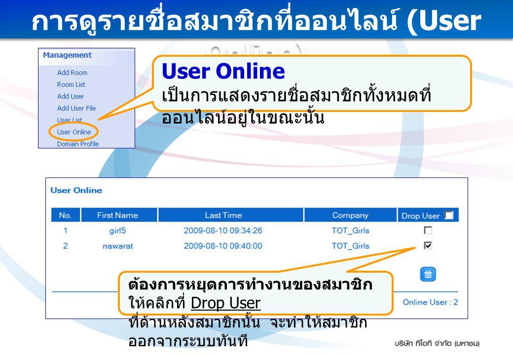 การดูรายชื่อสมาชิกที่ออนไลน์ (User Online) User Online เป็นการแสดงรายชื่อสมาชิกทั้งหมดที่ ออนไลน์อยู่ในขณะนั้น ต้องการหยุดการทำงานของสมาชิก ให้คลิกที่