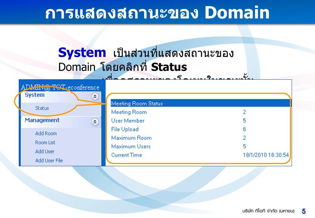การแสดงสถานะของ Domain System เป็นส่วนที่แสดงสถานะของ Domain โดยคลิกที่ Status เพื่อดูสถานะของโดเมนในขณะนั้น 5