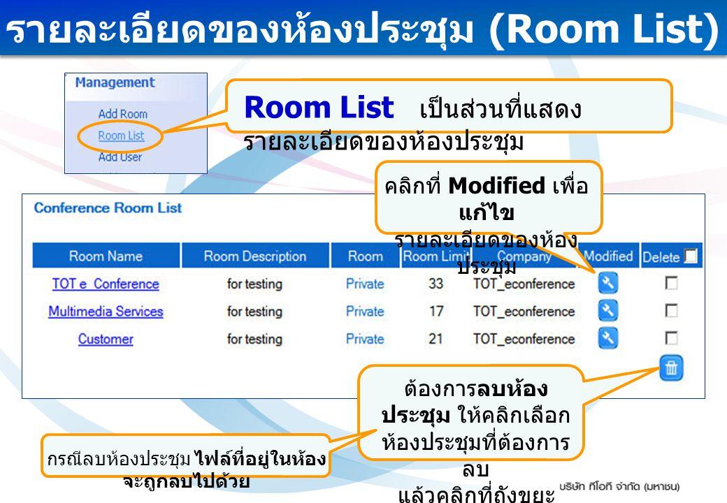 รายละเอียดของห้องประชุม (Room List) ต้องการลบห้อง ประชุม ให้คลิกเลือก ห้องประชุมที่ต้องการ ลบ แล้วคลิกที่ถังขยะ กรณีลบห้องประชุม ไฟล์ที่อยู่ในห้อง จะถ