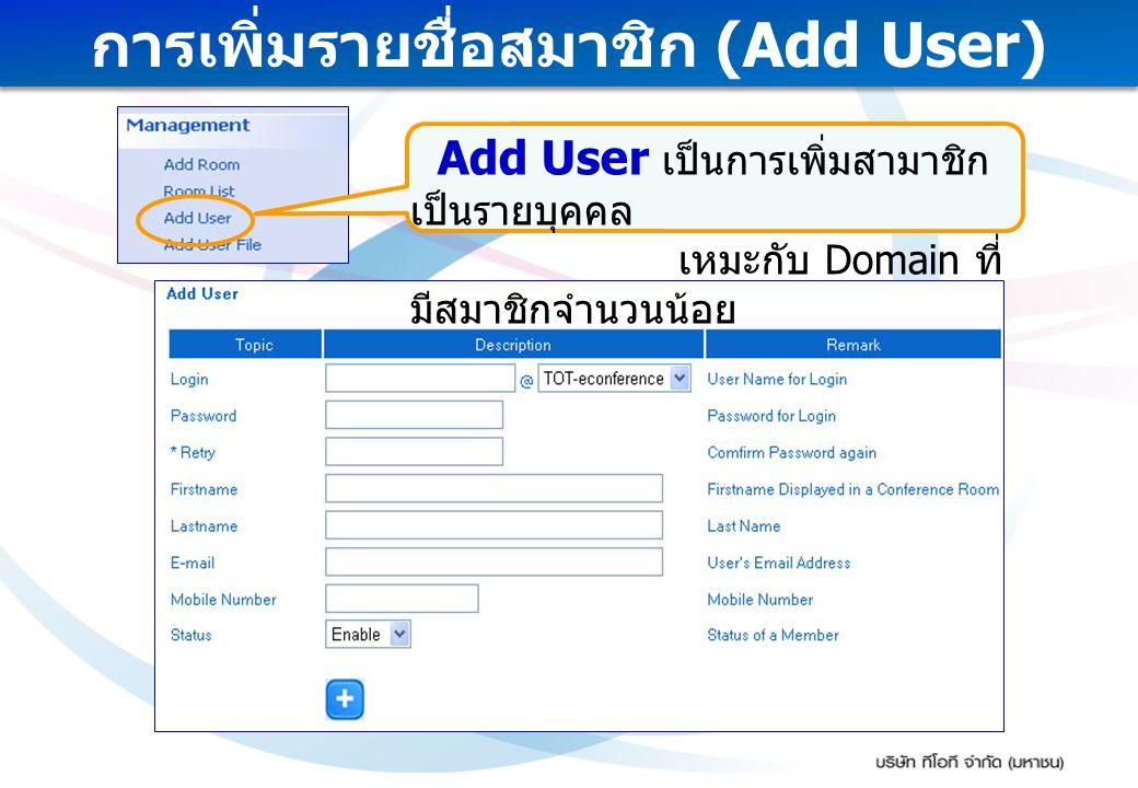 การเพิ่มรายชื่อสมาชิก (Add User) Add User เป็นการเพิ่มสามาชิก เป็นรายบุคคล เหมะกับ Domain ที่ มีสมาชิกจำนวนน้อย