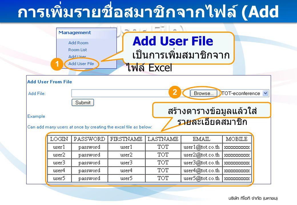 การเพิ่มรายชื่อสมาชิกจากไฟล์ (Add User File) Add User File เป็นการเพิ่มสมาชิกจาก ไฟล์ Excel สร้างตารางข้อมูลแล้วใส่ รายละเอียดสมาชิก 1 2