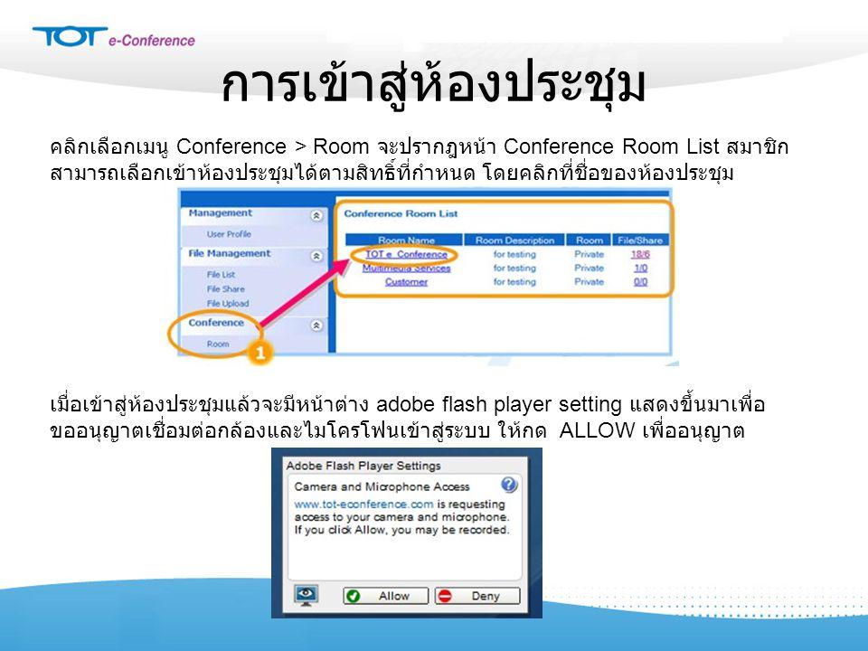 การเข้าสู่ห้องประชุม คลิกเลือกเมนู Conference > Room จะปรากฎหน้า Conference Room List สมาชิก สามารถเลือกเข้าห้องประชุมได้ตามสิทธิ์ที่กำหนด โดยคลิกที่ช