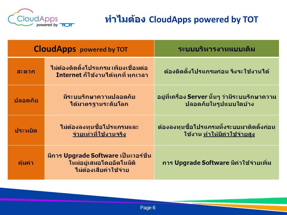 Page 6 ทำไมต้อง CloudApps powered by TOT CloudApps powered by TOT ระบบบริหารงานแบบเดิม สะดวก ไม่ต้องติดตั้งโปรแกรม เพียงเชื่อมต่อ Internet ก็ใช้งานได้ทุกที่ ทุกเวลา ต้องติดตั้งโปรแกรมก่อน จึงจะใช้งานได้ ปลอดภัย มีระบบรักษาความปลอดภัย ได้มาตรฐานระดับโลก อยู่ที่เครื่อง Server นั้นๆ ว่ามีระบบรักษาความ ปลอดภัยในรูปแบบใดบ้าง ประหยัด ไม่ต้องลงทุนซื้อโปรแกรมและ จ่ายเท่าที่ใช้งานจริง ต้องลงทุนซื้อโปรแกรมทั้งระบบมาติดตั้งก่อน ใช้งาน ทำให้มีค่าใช้จ่ายสูง คุ้มค่า มีการ Upgrade Software เป็นเวอร์ชั่น ใหม่อยู่เสมอโดยอัตโนมัติ ไม่ต้องเสียค่าใช้จ่าย การ Upgrade Software มีค่าใช้จ่ายเพิ่ม