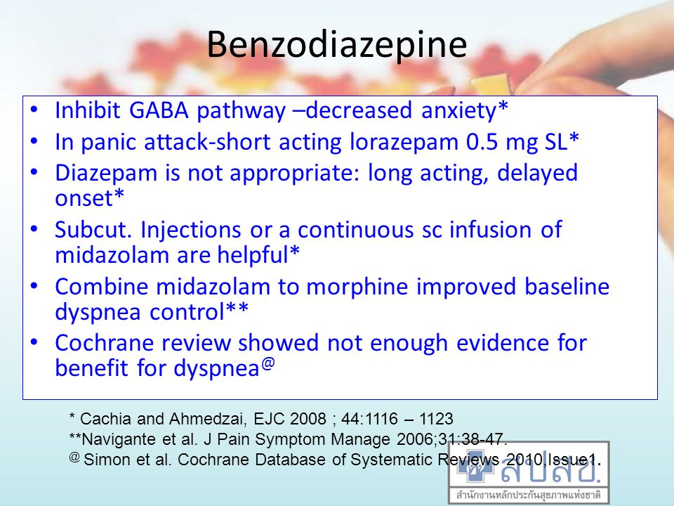 Benzodiazepine Inhibit GABA pathway –decreased anxiety* In panic attack-short acting lorazepam 0.5 mg SL* Diazepam is not appropriate: long acting, de