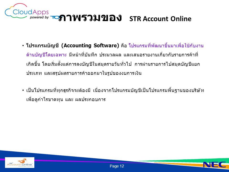 ภาพรวมของ STR Account Online โปรแกรมบัญชี (Accounting Software) คือ โปรแกรมที่พัฒนาขึ้นมาเพื่อใช้กับงาน ด้านบัญชีโดยเฉพาะ มีหน้าที่บันทึก ประมวลผล และเสนอรายงานเกี่ยวกับรายการค้าที่ เกิดขึ้น โดยเริ่มตั้งแต่การลงบัญชีในสมุดรายวันทั่วไป การผ่านรายการไปสมุดบัญชีแยก ประเภท และสรุปผลรายการค้าออกมาในรูปของงบการเงิน เป็นโปรแกรมที่ทุกธุรกิจจะต้องมี เนื่องจากโปรแกรมบัญชีเป็นโปรแกรมพื้นฐานของบริษัท เพื่อดูกำไรขาดทุน และ ผลประกอบการ Page 12