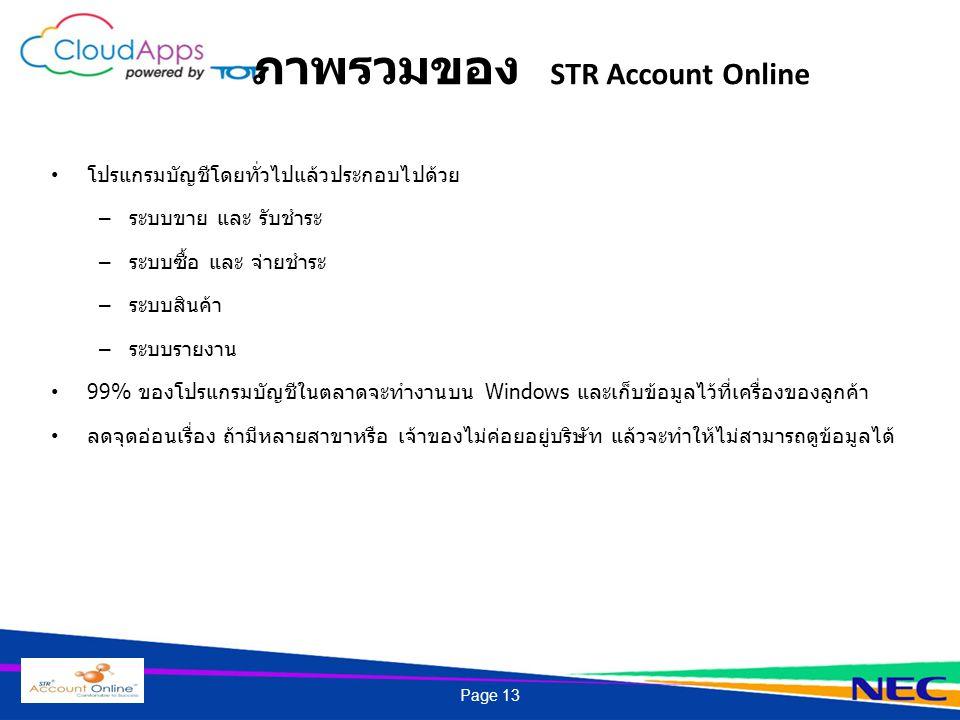 ภาพรวมของ STR Account Online โปรแกรมบัญชีโดยทั่วไปแล้วประกอบไปด้วย – ระบบขาย และ รับชำระ – ระบบซื้อ และ จ่ายชำระ – ระบบสินค้า – ระบบรายงาน 99% ของโปรแ