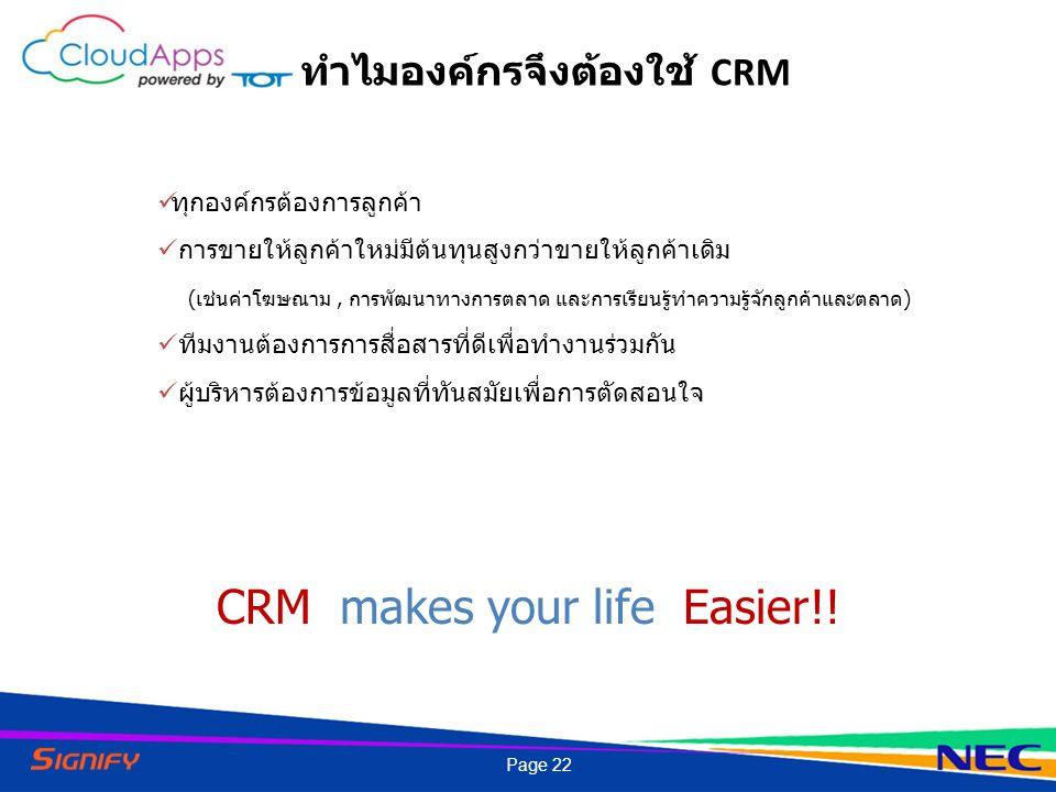 CRM makes your life Easier!! ทำไมองค์กรจึงต้องใช้ CRM ทุกองค์กรต้องการลูกค้า การขายให้ลูกค้าใหม่มีต้นทุนสูงกว่าขายให้ลูกค้าเดิม (เช่นค่าโฆษณาม, การพัฒ