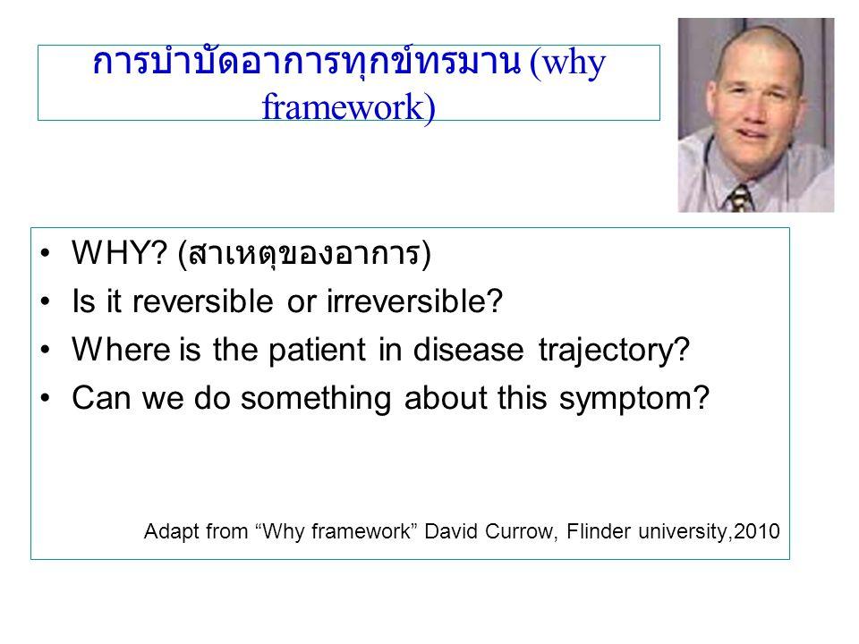 การบำบัดอาการทุกข์ทรมาน (why framework) WHY? ( สาเหตุของอาการ ) Is it reversible or irreversible? Where is the patient in disease trajectory? Can we d