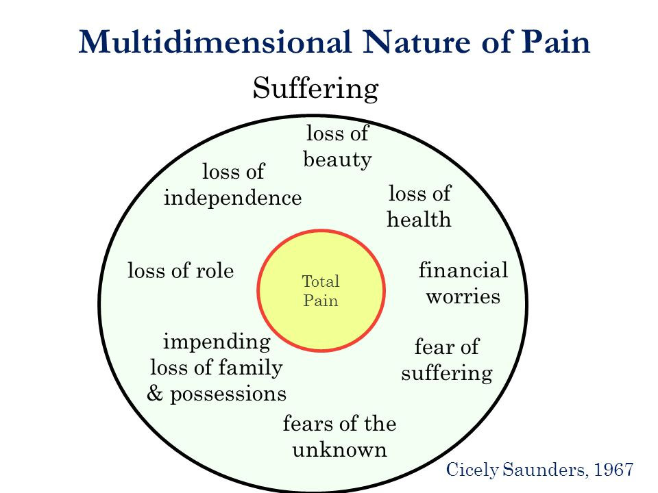 Multidimensional Nature of Pain Suffering Total Pain loss of beauty loss of health financial worries fear of suffering fears of the unknown impending loss of family & possessions loss of independence Cicely Saunders, 1967 loss of role