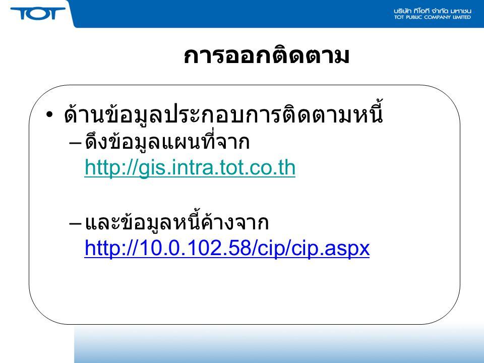 การออกติดตาม ด้านข้อมูลประกอบการติดตามหนี้ – ดึงข้อมูลแผนที่จาก http://gis.intra.tot.co.th http://gis.intra.tot.co.th – และข้อมูลหนี้ค้างจาก http://10