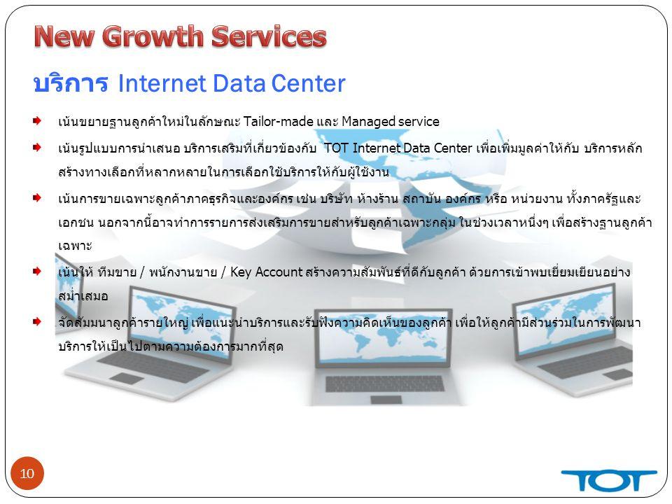 10 บริการ Internet Data Center เน้นขยายฐานลูกค้าใหม่ในลักษณะ Tailor-made และ Managed service เน้นรูปแบบการนำเสนอ บริการเสริมที่เกี่ยวข้องกับ TOT Internet Data Center เพื่อเพิ่มมูลค่าให้กับ บริการหลัก สร้างทางเลือกที่หลากหลายในการเลือกใช้บริการให้กับผู้ใช้งาน เน้นการขายเฉพาะลูกค้าภาคธุรกิจและองค์กร เช่น บริษัท ห้างร้าน สถาบัน องค์กร หรือ หน่วยงาน ทั้งภาครัฐและ เอกชน นอกจากนี้อาจทำการรายการส่งเสริมการขายสำหรับลูกค้าเฉพาะกลุ่ม ในช่วงเวลาหนึ่งๆ เพื่อสร้างฐานลูกค้า เฉพาะ เน้นให้ ทีมขาย / พนักงานขาย / Key Account สร้างความสัมพันธ์ที่ดีกับลูกค้า ด้วยการเข้าพบเยี่ยมเยียนอย่าง สม่ำเสมอ จัดสัมมนาลูกค้ารายใหญ่ เพื่อแนะนำบริการและรับฟังความคิดเห็นของลูกค้า เพื่อให้ลูกค้ามีส่วนร่วมในการพัฒนา บริการให้เป็นไปตามความต้องการมากที่สุด