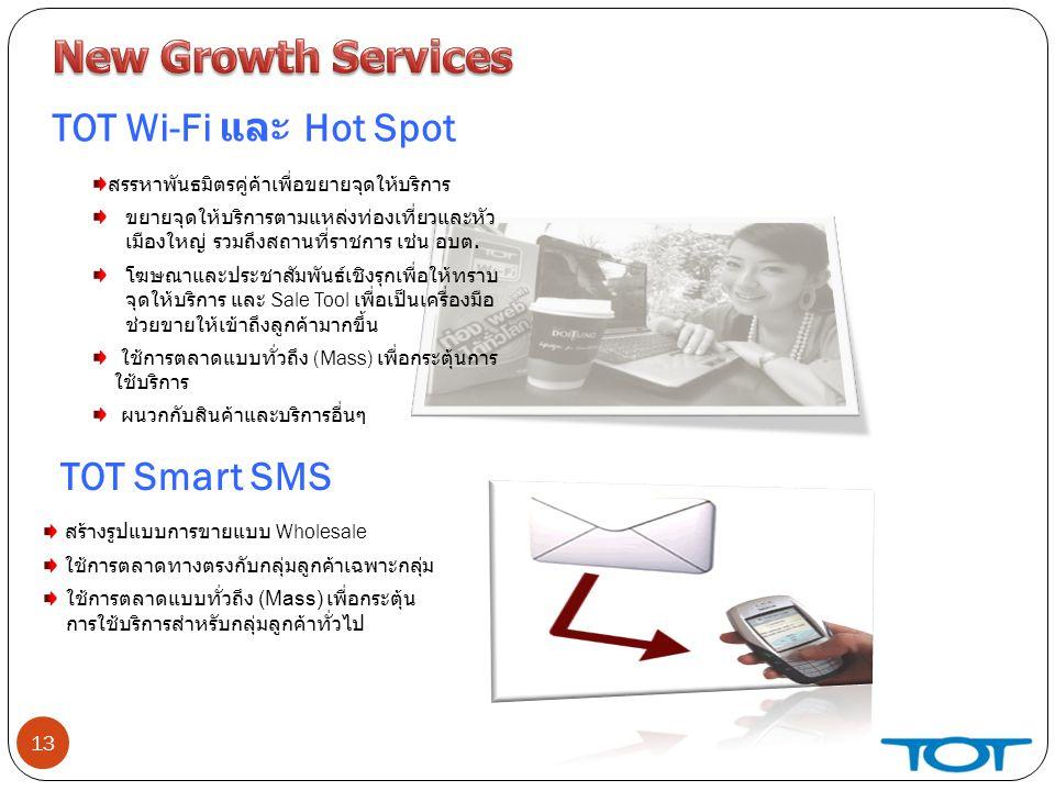 13 TOT Wi-Fi และ Hot Spot สรรหาพันธมิตรคู่ค้าเพื่อขยายจุดให้บริการ ขยายจุดให้บริการตามแหล่งท่องเที่ยวและหัว เมืองใหญ่ รวมถึงสถานที่ราชการ เช่น อบต.