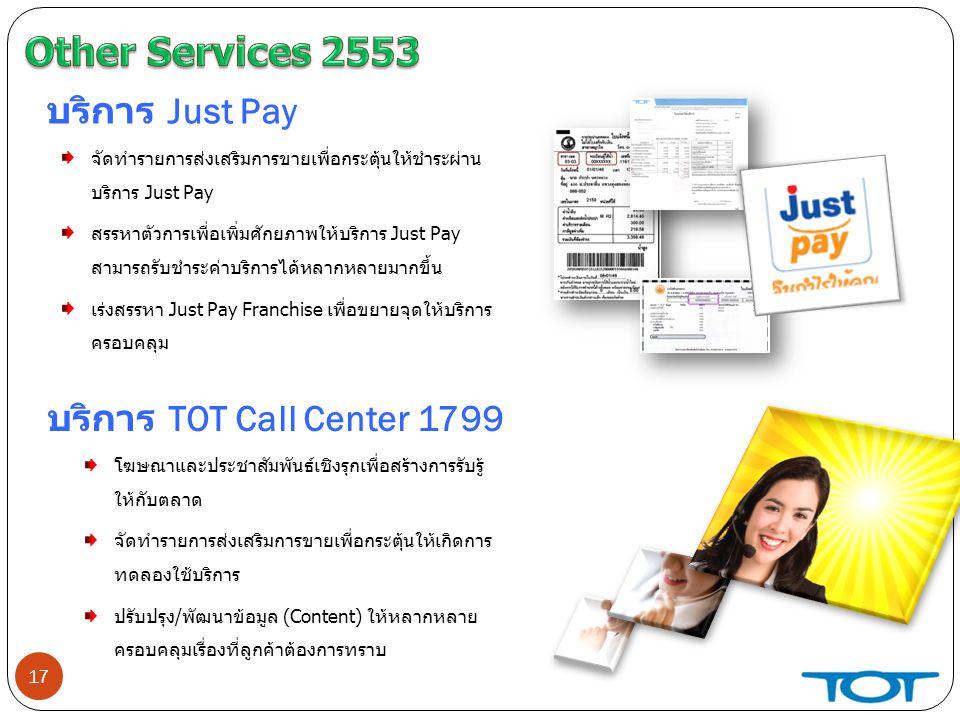 17 บริการ Just Pay จัดทำรายการส่งเสริมการขายเพื่อกระตุ้นให้ชำระผ่าน บริการ Just Pay สรรหาตัวการเพื่อเพิ่มศักยภาพให้บริการ Just Pay สามารถรับชำระค่าบริการได้หลากหลายมากขึ้น เร่งสรรหา Just Pay Franchise เพื่อขยายจุดให้บริการ ครอบคลุม บริการ TOT Call Center 1799 โฆษณาและประชาสัมพันธ์เชิงรุกเพื่อสร้างการรับรู้ ให้กับตลาด จัดทำรายการส่งเสริมการขายเพื่อกระตุ้นให้เกิดการ ทดลองใช้บริการ ปรับปรุง/พัฒนาข้อมูล (Content) ให้หลากหลาย ครอบคลุมเรื่องที่ลูกค้าต้องการทราบ