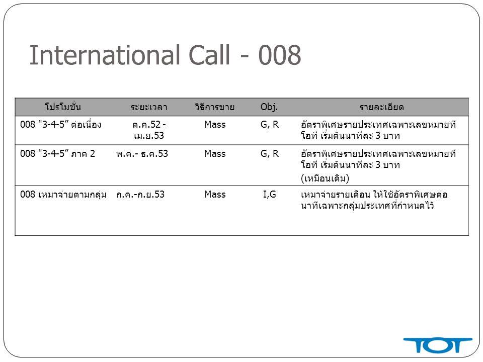 International Call - 008 โปรโมชั่นระยะเวลาวิธีการขายObj.รายละเอียด 008 3-4-5 ต่อเนื่องต.ค.52 - เม.ย.53 MassG, Rอัตราพิเศษรายประเทศเฉพาะเลขหมายที โอที เริ่มต้นนาทีละ 3 บาท 008 3-4-5 ภาค 2พ.ค.- ธ.ค.53MassG, Rอัตราพิเศษรายประเทศเฉพาะเลขหมายที โอที เริ่มต้นนาทีละ 3 บาท (เหมือนเดิม) 008 เหมาจ่ายตามกลุ่มก.ค.-ก.ย.53MassI,Gเหมาจ่ายรายเดือน ให้ใช้อัตราพิเศษต่อ นาทีเฉพาะกลุ่มประเทศที่กำหนดไว้