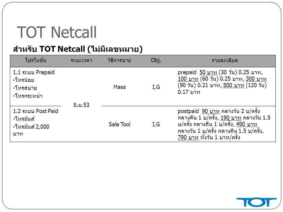 TOT Netcall โปรโมชั่นระยะเวลาวิธีการขายObj.รายละเอียด 1.1 ระบบ Prepaid -โทรน้อย -โทรสบาย -โทรกระหน่ำ มิ.ย.53 MassI,G prepaid 50 บาท (30 วัน) 0.25 บาท, 100 บาท (60 วัน) 0.25 บาท, 300 บาท (90 วัน) 0.21 บาท, 500 บาท (120 วัน) 0.17 บาท 1.2 ระบบ Post Paid -โทรมันส์ -โทรมันส์ 2,000 บาท Sale ToolI,G postpaid 90 บาท กลางวัน 2 บ/ครั้ง กลางคืน 1 บ/ครั้ง, 190 บาท กลางวัน 1.5 บ/ครั้ง กลางคืน 1 บ/ครั้ง, 490 บาท กลางวัน 1 บ/ครั้ง กลางคืน 1.5 บ/ครั้ง, 790 บาท ทั้งวัน 1 บาท/ครั้ง สำหรับ TOT Netcall (ไม่มีเลขหมาย)