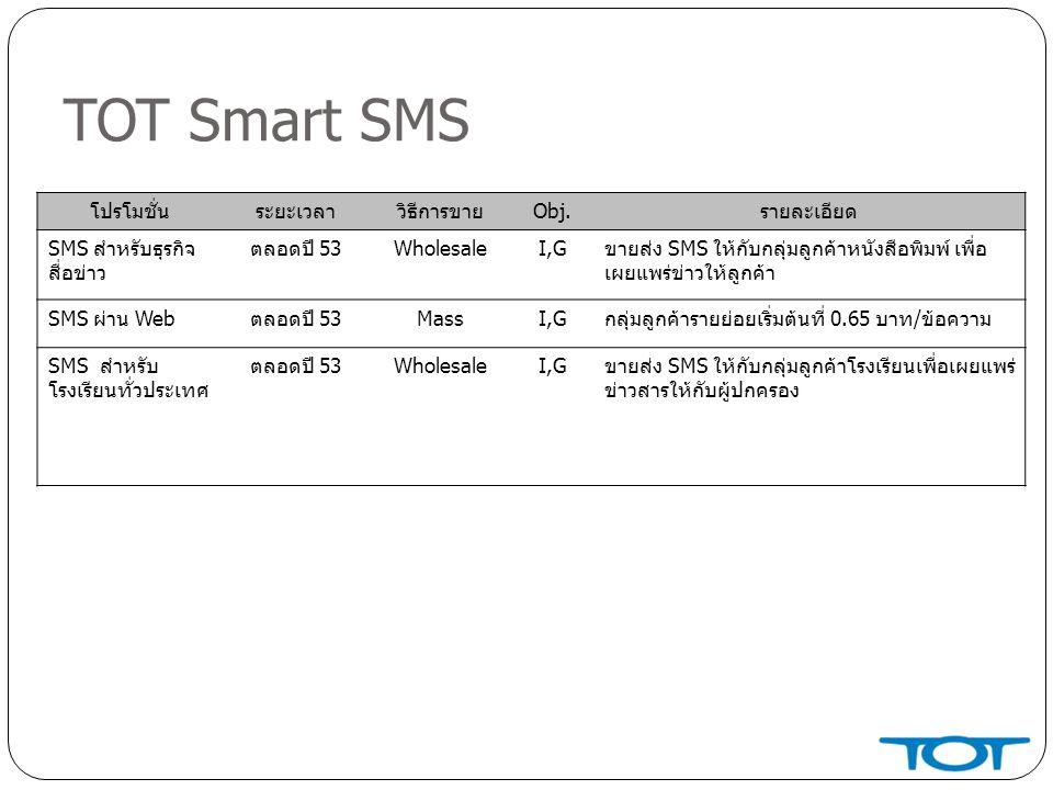 TOT Smart SMS โปรโมชั่นระยะเวลาวิธีการขายObj.รายละเอียด SMS สำหรับธุรกิจ สื่อข่าว ตลอดปี 53WholesaleI,Gขายส่ง SMS ให้กับกลุ่มลูกค้าหนังสือพิมพ์ เพื่อ เผยแพร่ข่าวให้ลูกค้า SMS ผ่าน Webตลอดปี 53MassI,Gกลุ่มลูกค้ารายย่อยเริ่มต้นที่ 0.65 บาท/ข้อความ SMS สำหรับ โรงเรียนทั่วประเทศ ตลอดปี 53WholesaleI,Gขายส่ง SMS ให้กับกลุ่มลูกค้าโรงเรียนเพื่อเผยแพร่ ข่าวสารให้กับผู้ปกครอง