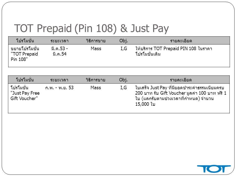 TOT Prepaid (Pin 108) & Just Pay โปรโมชั่นระยะเวลาวิธีการขายObj.รายละเอียด ขยายโปรโมชั่น TOT Prepaid Pin 108 มี.ค.53 - มี.ค.54 MassI,Gให้บริการ TOT Prepaid PIN 108 ในราคา โปรโมชั่นเดิม โปรโมชั่นระยะเวลาวิธีการขายObj.รายละเอียด โปรโมชั่น Just Pay Free Gift Voucher ก.พ.