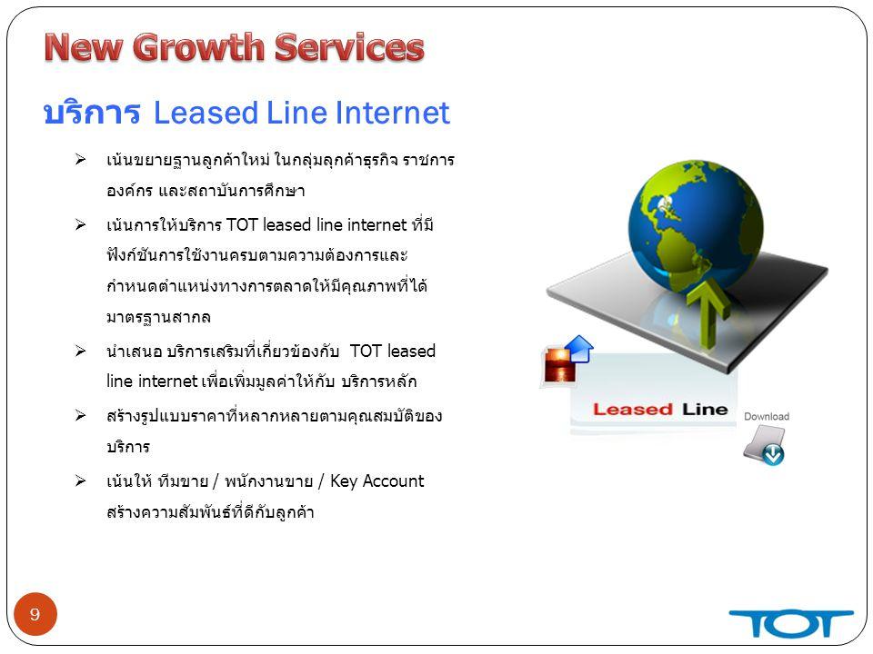 9 บริการ Leased Line Internet  เน้นขยายฐานลูกค้าใหม่ ในกลุ่มลุกค้าธุรกิจ ราชการ องค์กร และสถาบันการศึกษา  เน้นการให้บริการ TOT leased line internet ที่มี ฟังก์ชันการใช้งานครบตามความต้องการและ กำหนดตำแหน่งทางการตลาดให้มีคุณภาพที่ได้ มาตรฐานสากล  นำเสนอ บริการเสริมที่เกี่ยวข้องกับ TOT leased line internet เพื่อเพิ่มมูลค่าให้กับ บริการหลัก  สร้างรูปแบบราคาที่หลากหลายตามคุณสมบัติของ บริการ  เน้นให้ ทีมขาย / พนักงานขาย / Key Account สร้างความสัมพันธ์ที่ดีกับลูกค้า