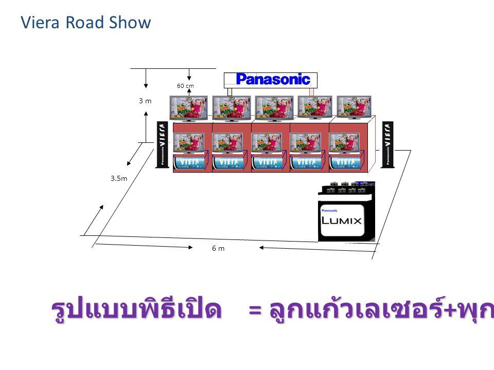3 m 3.5m 6 m 60 cm Viera Road Show รูปแบบพิธีเปิด = ลูกแก้วเลเซอร์ + พุกระดาษ