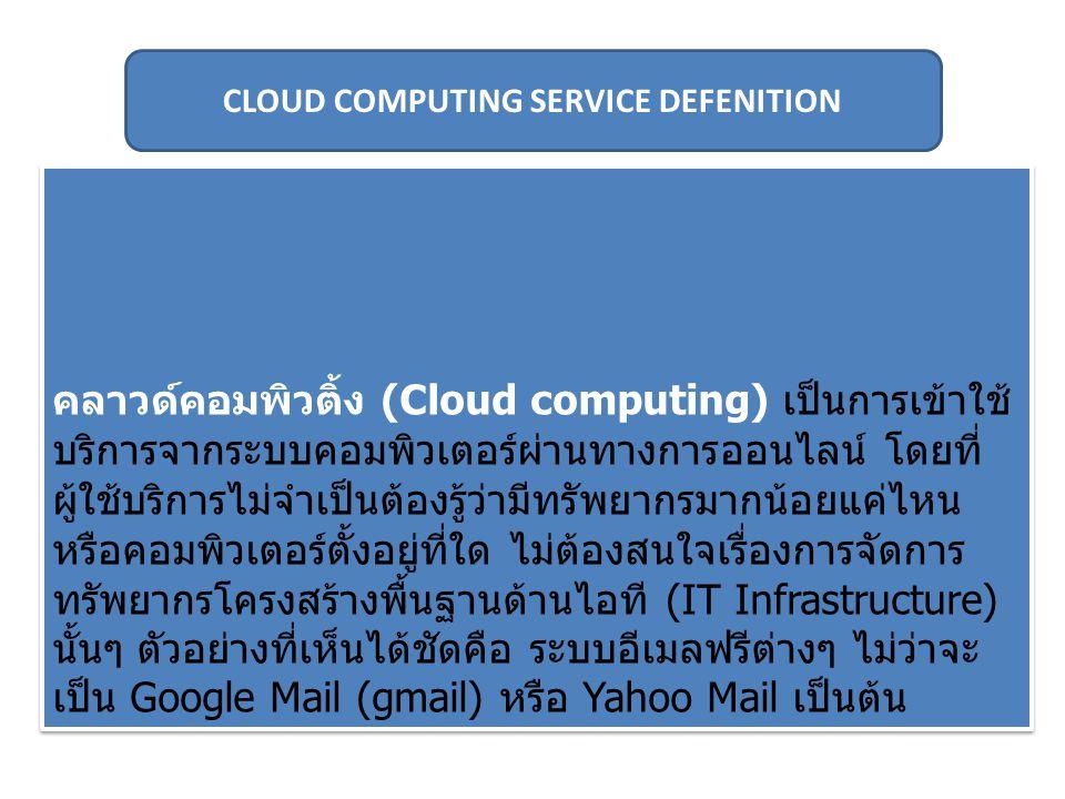 คลาวด์คอมพิวติ้ง (Cloud computing) เป็นการเข้าใช้ บริการจากระบบคอมพิวเตอร์ผ่านทางการออนไลน์ โดยที่ ผู้ใช้บริการไม่จำเป็นต้องรู้ว่ามีทรัพยากรมากน้อยแค่