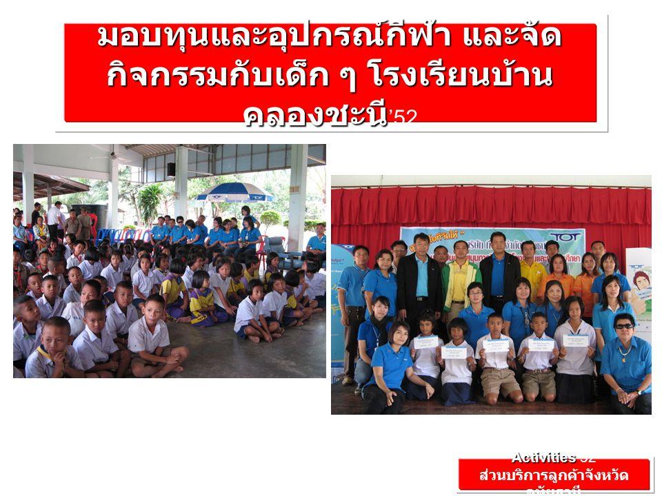 Activities Activities'52 ส่วนบริการลูกค้าจังหวัด อุทัยธานี มอบทุนและอุปกรณ์กีฬา และจัด กิจกรรมกับเด็ก ๆ โรงเรียนบ้าน คลองชะนี มอบทุนและอุปกรณ์กีฬา และจัด กิจกรรมกับเด็ก ๆ โรงเรียนบ้าน คลองชะนี '52