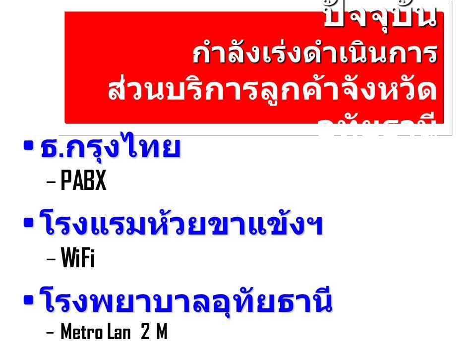 ปัจจุบัน กำลังเร่งดำเนินการ ปัจจุบัน กำลังเร่งดำเนินการ ส่วนบริการลูกค้าจังหวัด อุทัยธานี ธ. กรุงไทย ธ. กรุงไทย – PABX โรงแรมห้วยขาแข้งฯ โรงแรมห้วยขาแ