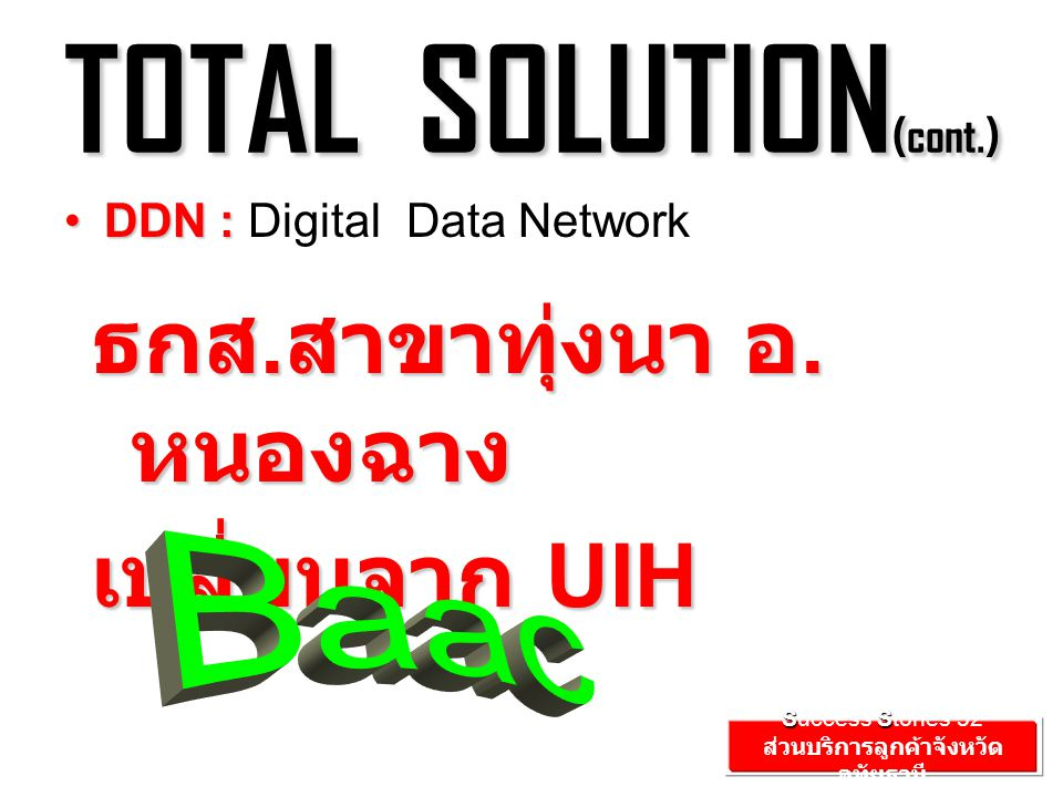 TOTAL SOLUTION (cont.) DDN :DDN : Digital Data Network ธกส.