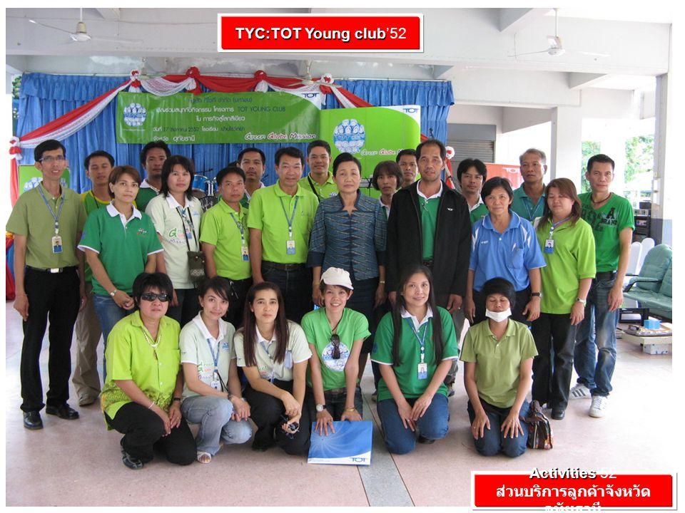 Activities Activities'52 ส่วนบริการลูกค้าจังหวัด อุทัยธานี TYC:TOT Young club TYC:TOT Young club'52