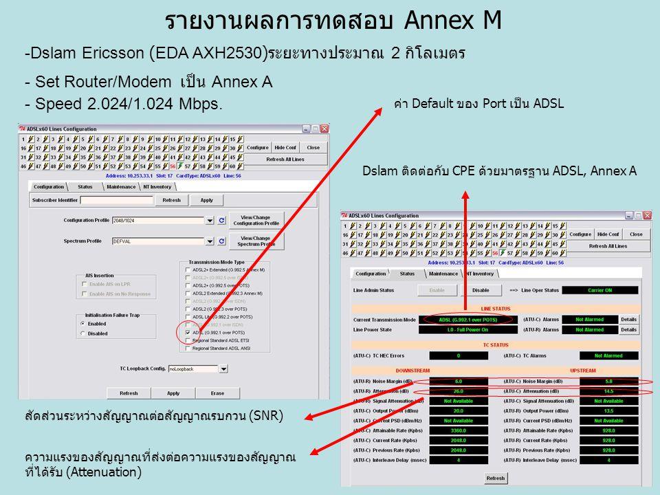รายงานผลการทดสอบ Annex M -Dslam Ericsson (EDA AXH2530) ระยะทางประมาณ 2 กิโลเมตร - Set Router/Modem เป็น Annex A - Speed 2.024/1.024 Mbps. ค่า Default