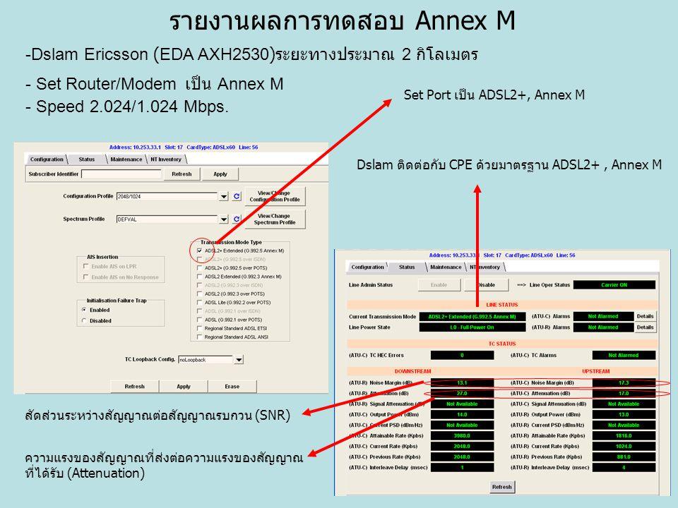 รายงานผลการทดสอบ Annex M -Dslam Ericsson (EDA AXH2530) ระยะทางประมาณ 2 กิโลเมตร - Set Router/Modem เป็น Annex M - Speed 2.024/1.024 Mbps. Set Port เป็