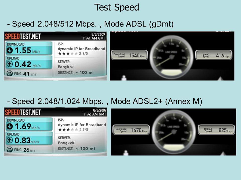 Test Speed - Speed 2.048/512 Mbps., Mode ADSL (gDmt) - Speed 2.048/1.024 Mbps., Mode ADSL2+ (Annex M)