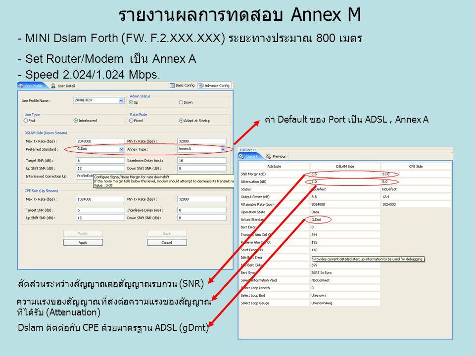 รายงานผลการทดสอบ Annex M - MINI Dslam Forth (FW. F.2.XXX.XXX) ระยะทางประมาณ 800 เมตร - Set Router/Modem เป็น Annex A - Speed 2.024/1.024 Mbps. ค่า Def
