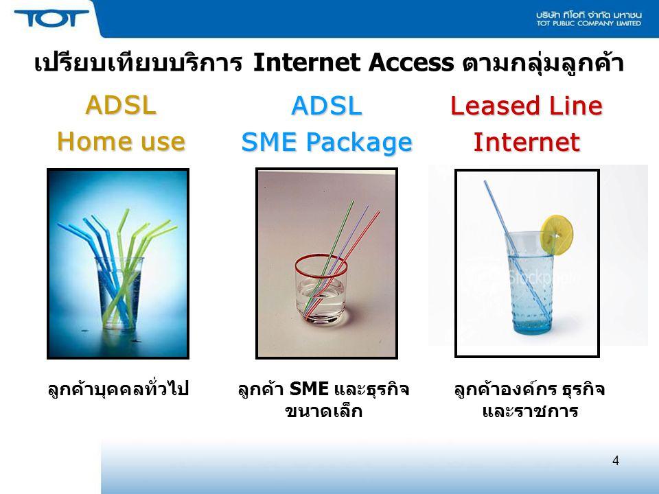4 เปรียบเทียบบริการ Internet Access ตามกลุ่มลูกค้า ADSL Home use ADSL SME Package ลูกค้าบุคคลทั่วไปลูกค้า SME และธุรกิจ ขนาดเล็ก ลูกค้าองค์กร ธุรกิจ และราชการ Leased Line Internet