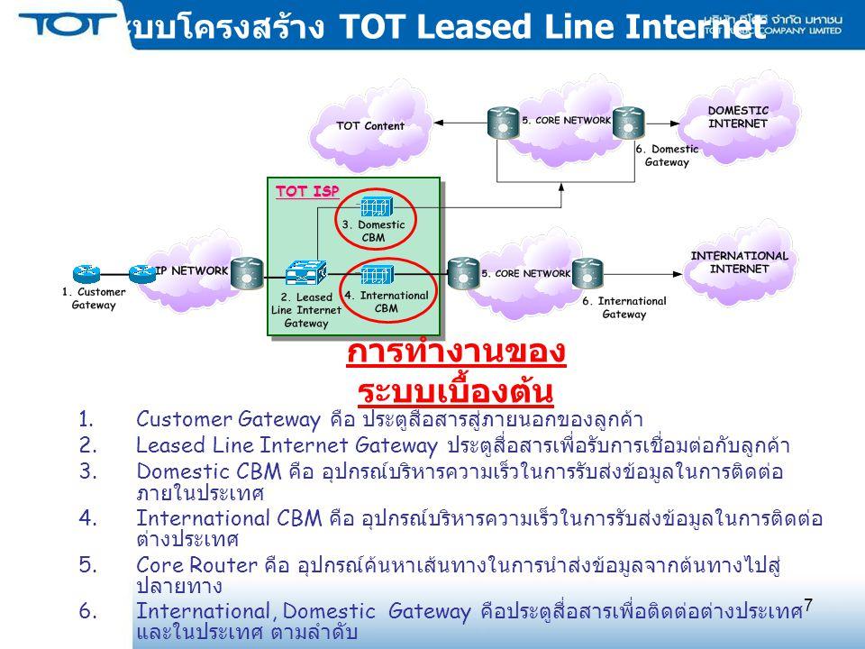 7 ระบบโครงสร้าง TOT Leased Line Internet 1.Customer Gateway คือ ประตูสื่อสารสู่ภายนอกของลูกค้า 2.Leased Line Internet Gateway ประตูสื่อสารเพื่อรับการเชื่อมต่อกับลูกค้า 3.Domestic CBM คือ อุปกรณ์บริหารความเร็วในการรับส่งข้อมูลในการติดต่อ ภายในประเทศ 4.International CBM คือ อุปกรณ์บริหารความเร็วในการรับส่งข้อมูลในการติดต่อ ต่างประเทศ 5.Core Router คือ อุปกรณ์ค้นหาเส้นทางในการนำส่งข้อมูลจากต้นทางไปสู่ ปลายทาง 6.International, Domestic Gateway คือประตูสื่อสารเพื่อติดต่อต่างประเทศ และในประเทศ ตามลำดับ การทำงานของ ระบบเบื้องต้น TOT ISP